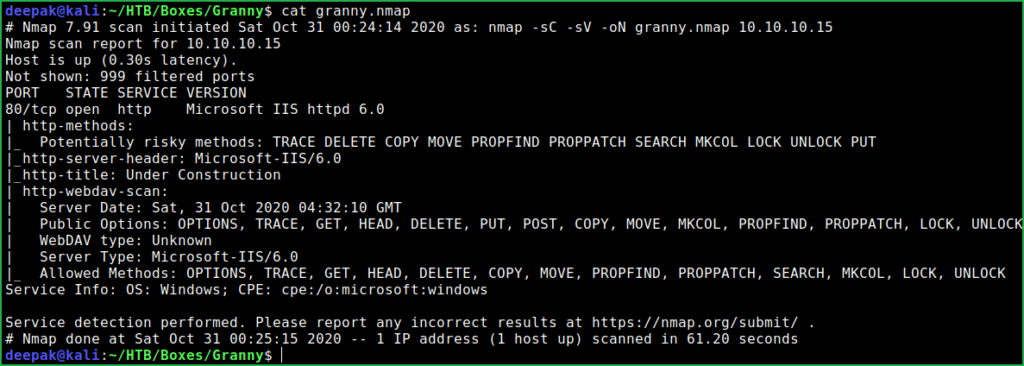 Nmap scan result of granny htb box