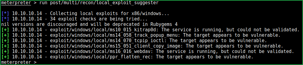 Local Exploit Suggester results
