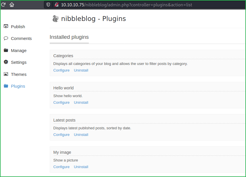 nibbleblog-plugin web page found during Nibbles hackthebox walkthrough