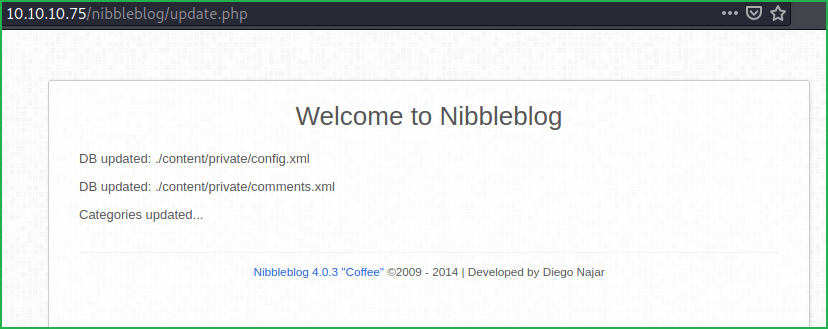 Update page of nibbleblog CMS in Nibbles HackTheBox WalkThrough