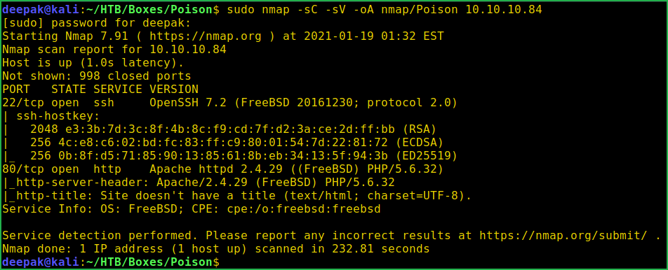 Performing Nmap scan during Poison HackTheBox Walkthrough